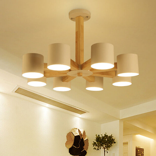 Oak pendant light with 3-6-8 heads