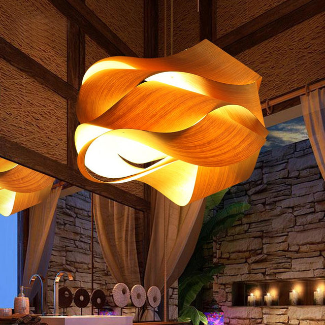 Astounding wood and bamboo pendant light