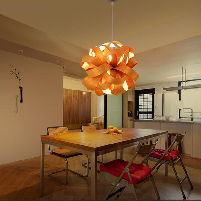 Wooden Flower pendant light
