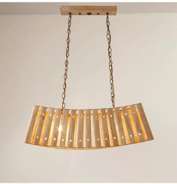 Solid wood and bamboo long pendant light