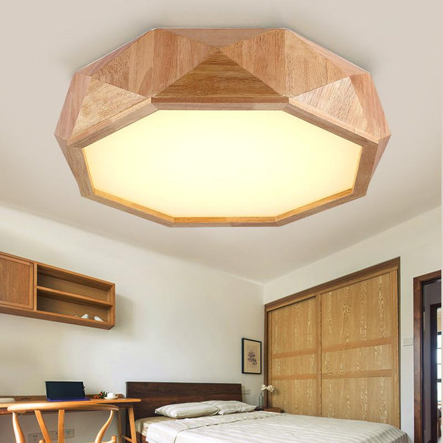 Solid wood octagon ceiling light