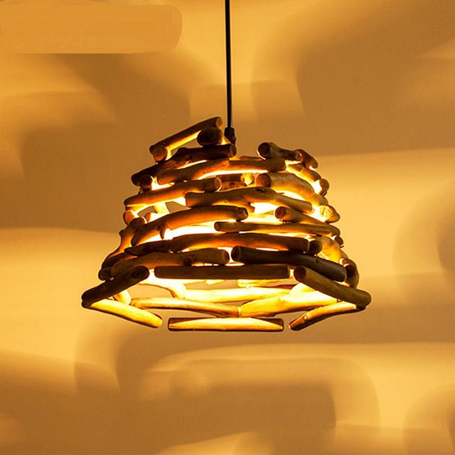 Wood logs pendant light