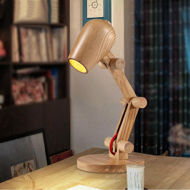 Simple wooden reading lamp
