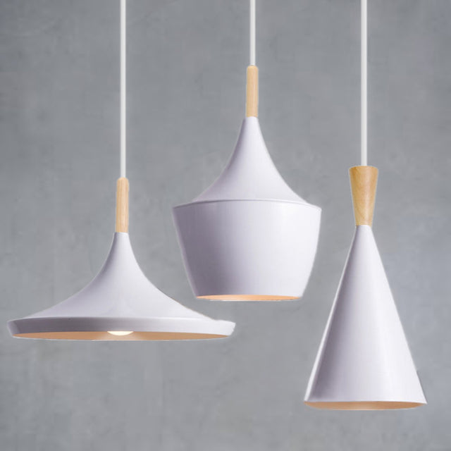White metal and wood pendant lights in 3 different styles