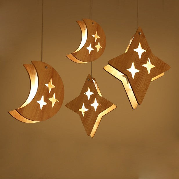 Wooden moon and stars pendant lights