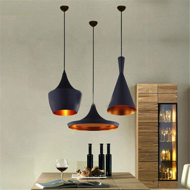 Black and cooper pendant light