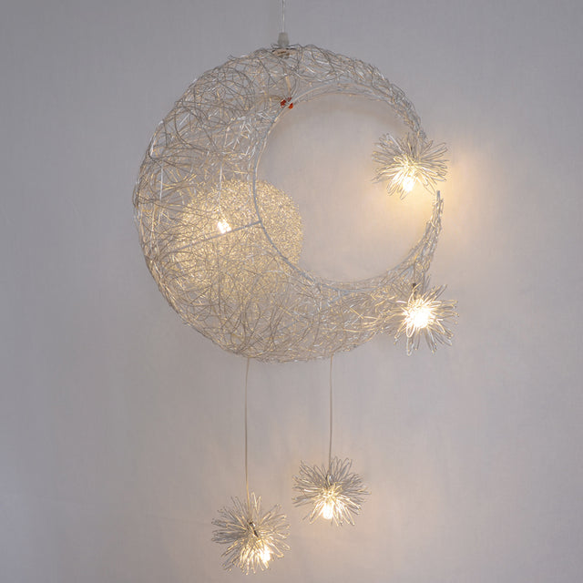 Steel wire moon and stars pendant light