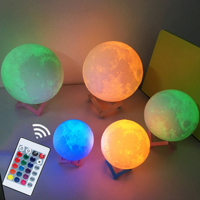 Remote control 3D moon light - 7 colours