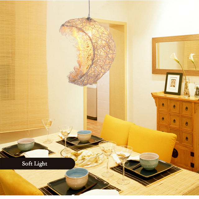 Rattan Moon pendant light