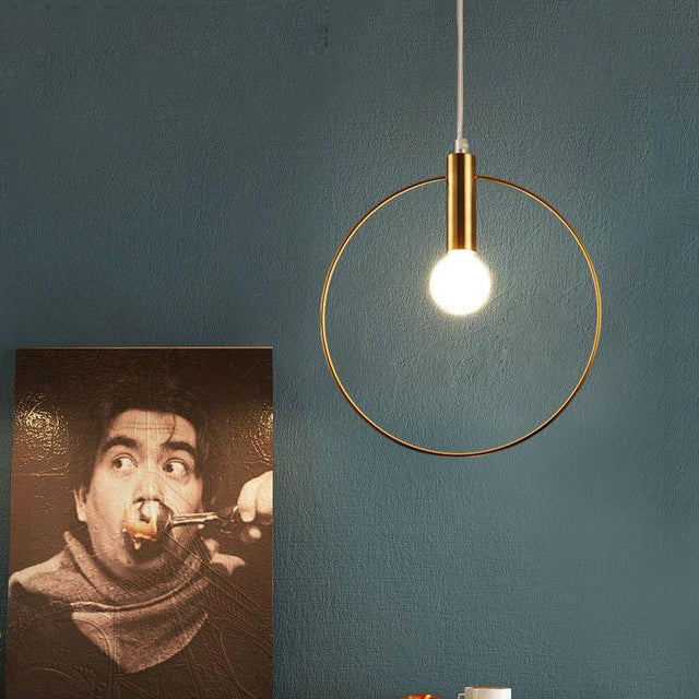Golden ring hanging light