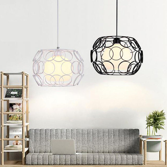 Black or White metal pendant light with circles