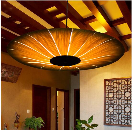 Oriental wood pendant light