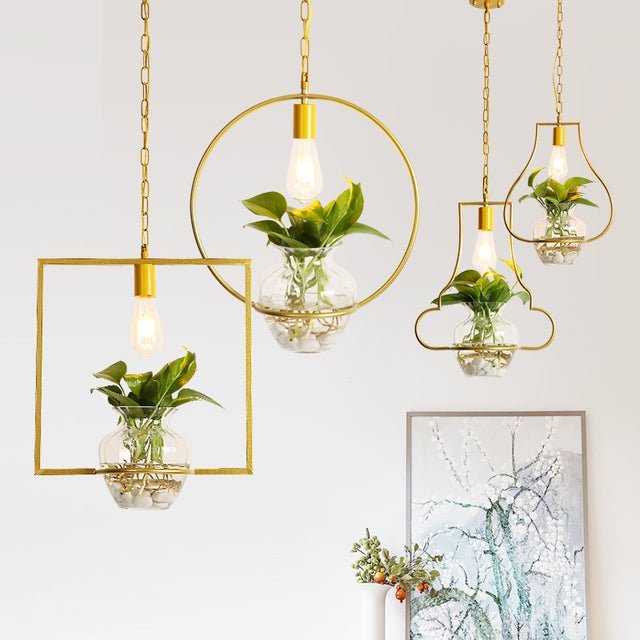 Metal and glass hanging light for living plants