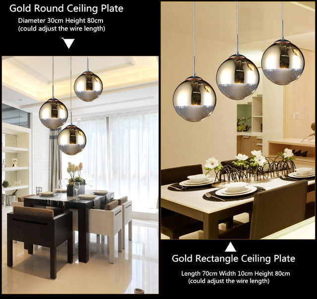 Silver or Golden metallic Pendant light