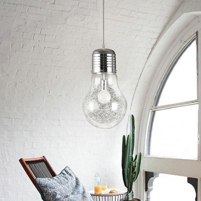 Colossal lightbulb pendant light