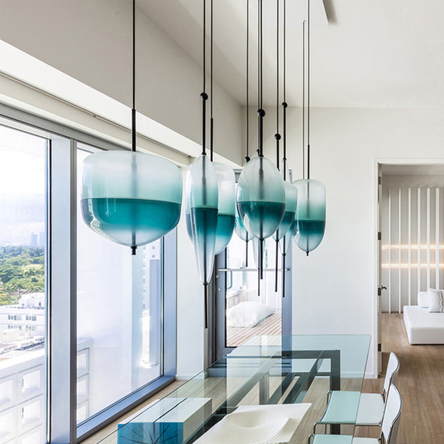 Turquoise hand blown glass pendant lights