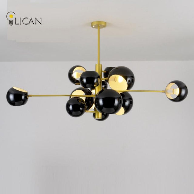 Lican molecular hanging light in black or white