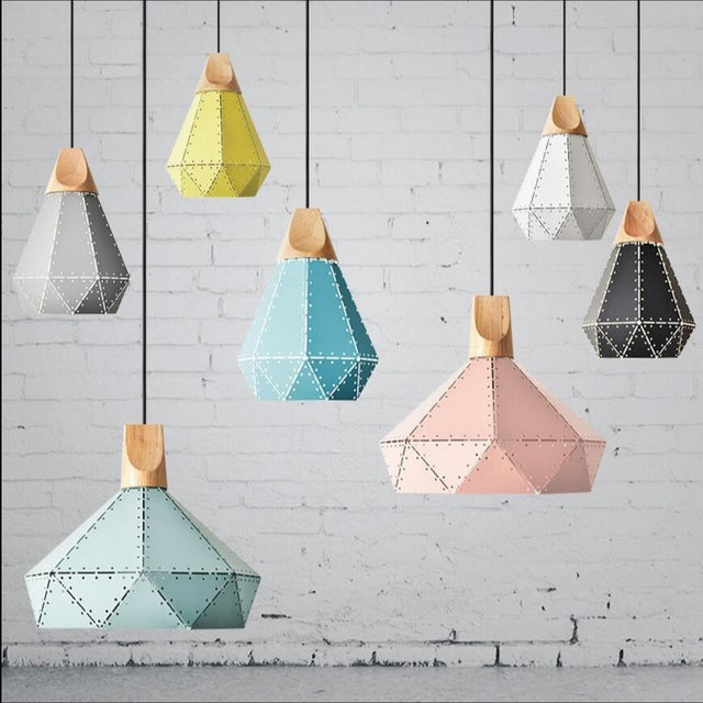 Metallic pendant light in seven colors