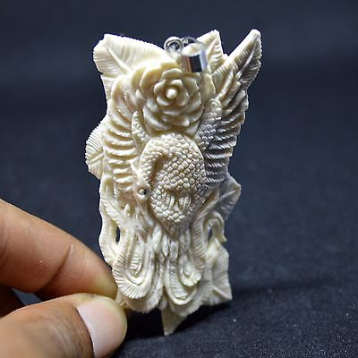 Hand-Carved-Phoenix-3-1-Natural-Buffalo-Bone-Pendant-Necklace-Bead-BP3630