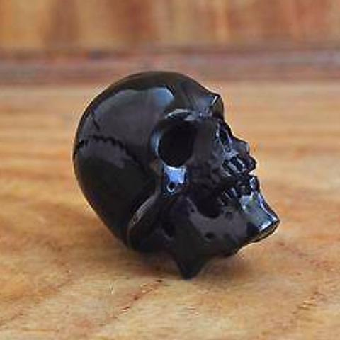 Hand-Carved-40-45-mm-Human-Skull-Natural-Buffalo-Horn-Carving-Undrilled