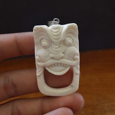 "Hand-Carved-Balinese-2.3""-Natural-Buffalo-Bone-Pendant-Necklace-Bead"