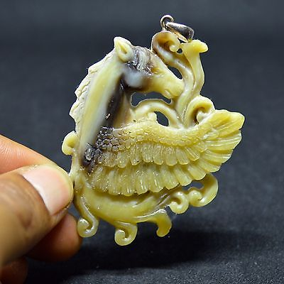 Hand-Carved-Pegasus-2-8-Natural-Buffalo-Horn-Carving-Pendant-BH-3527