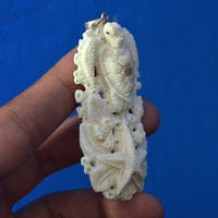 Hand-Carved-Turtle-2-7-Buffalo-Bone-Pendant-Necklace-Bead