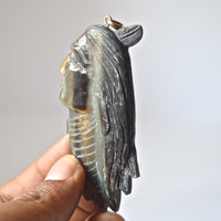 Hand-Carved-Indian-3-1-Natural-Buffalo-Horn-Carving-Pendant--BH-3538