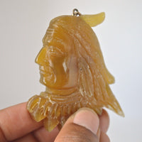Hand-Carved-Indian-Spirit-2-6-Natural-Buffalo-Horn-Carving-Pendant--BH-3514