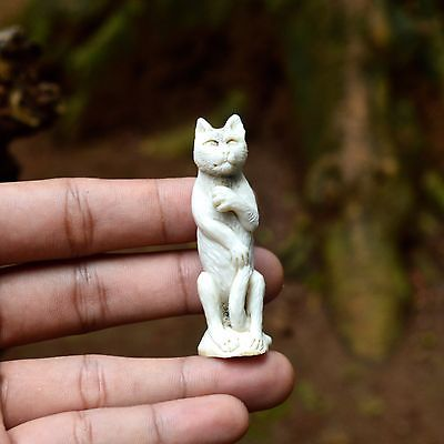 "Hand-Carved-Kitty-Cat-2.3""-Natural-Deer-Antler-Carving-Statue-AP-3320"