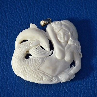 Hand-Carved-Mermaid-Dolphin-1-9-Buffalo-Bone-Pendant-Necklace-Bead-BP2765
