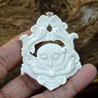 "Hand Carved Owl 2.6"" Natural Buffalo Bone Carving Pendant 925 Silver BP3211"