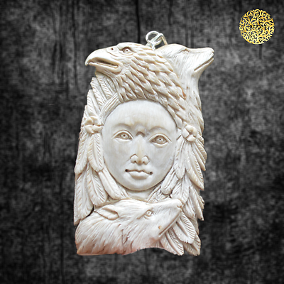 "2.5""-Hand-Carved-Indian-Spirit-Natural-Fossil-Carving-925-silver-Pendant-FM2830"