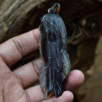 Hand-Carved-American-Native-3-1-Buffalo-Horn-Carving-Pendant-925-Silver-BH-3374