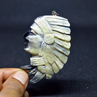 Hand-Carved-American-Native-2-9-Buffalo-Horn-Carving-Pendant-BH-3534