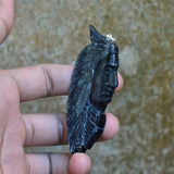 Hand-Carved-Indian-2-9-Natural-Buffalo-Horn-Carving-Pendant-925-Silver-BH-3400