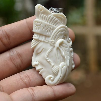 Hand-Carved-Prince-2-6-Natural-Buffalo-Bone-Pendant-Necklace-Bead-BP2991