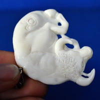 "Zodiac Taurus Pendant Horoscope Astrology Sign 2"" Hand Carved Buffalo Bone BP3703"