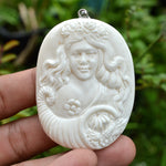 "Zodiac Virgo Pendant Horoscope Astrology Sign 2.6"" Hand Carved Buffalo Bone BP3744"