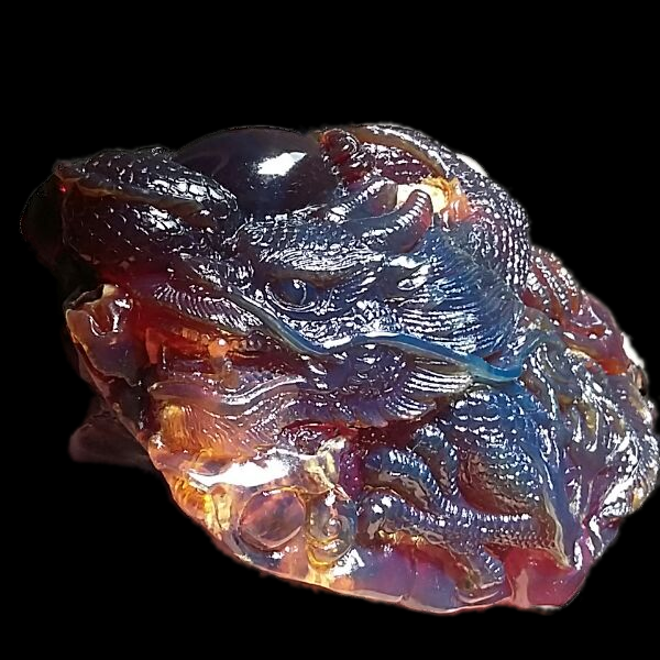 Dragon Amber 12.5cm Hand Carved Natural Sumatra Amber Stone Fossil