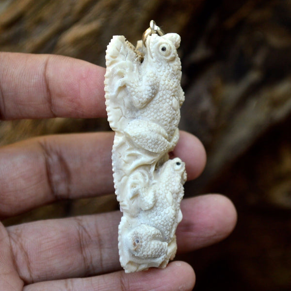 "Hand Carved Double Frog 2.8""Natural Deer Antler Carving Pendant 925Silver AP3260"