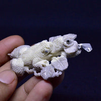 "Hand Carved Frog Eats Flies 2.5"" Natural Deer Antler carving Pendant  AP 3553"