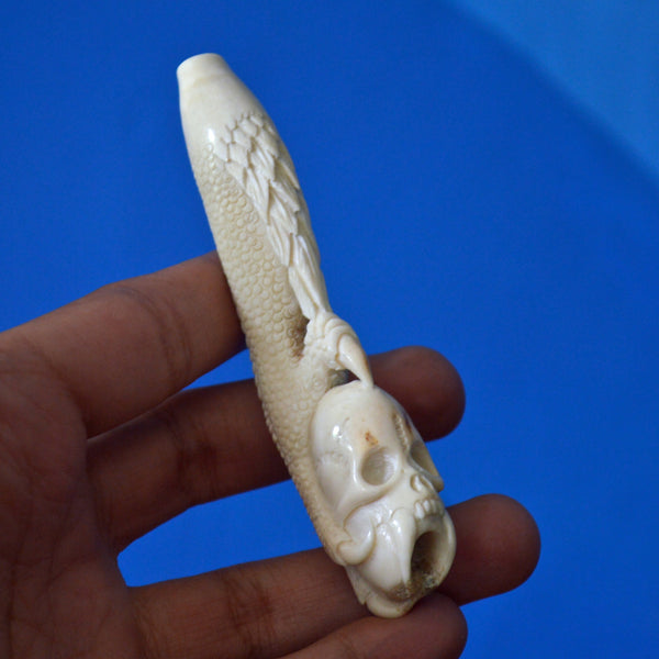 Hand Carved Smoking Pipe Tobacco Skull Deer Antler Carving  PR 50
