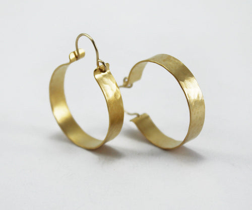Hammered gold hoop earrings Textured hoops Medium hoops Gypsy hoops