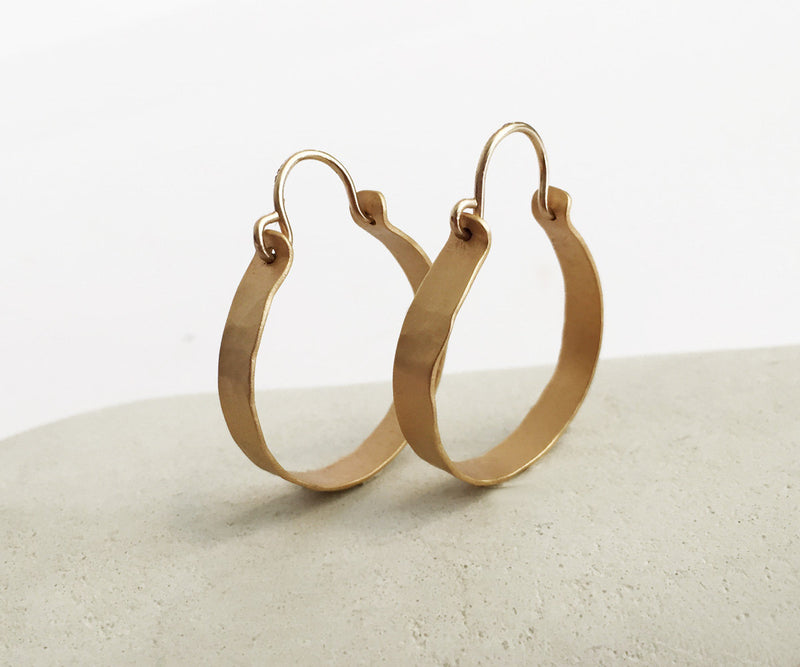 Textured hoop earrings Hammered gold hoops Medium hoops Gypsy hoops