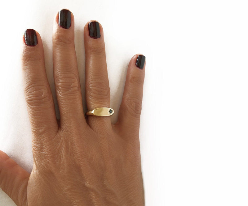 Signet ring oval gold signet ring dainty gold ring diamond signet ring personalized ring