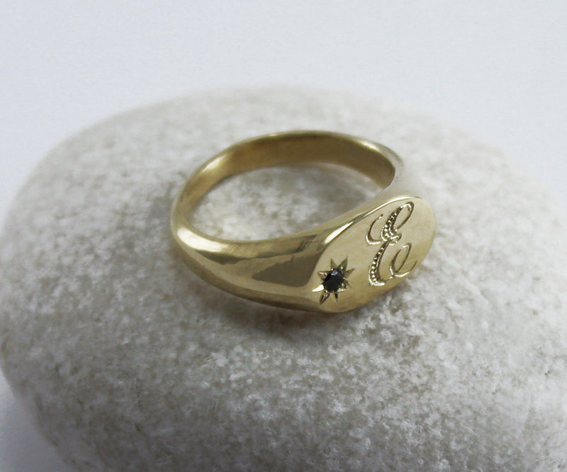 Gold signet ring with diamond Engraved ring Initial ring Oval signet ring Personalized signet ring
