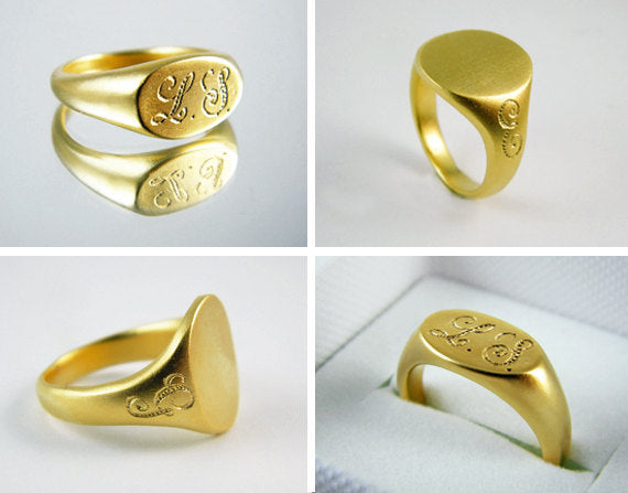 Gold signet ring oval gold ring dainty gold ring personalized ring