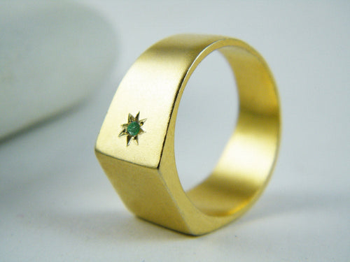 Signet ring Zirkon ring Gold emerald ring Ruby ring Gold signet ring