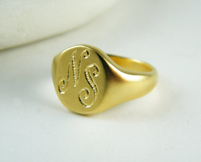 Gold signet ring Monogram signet ring personalized ring initials ring